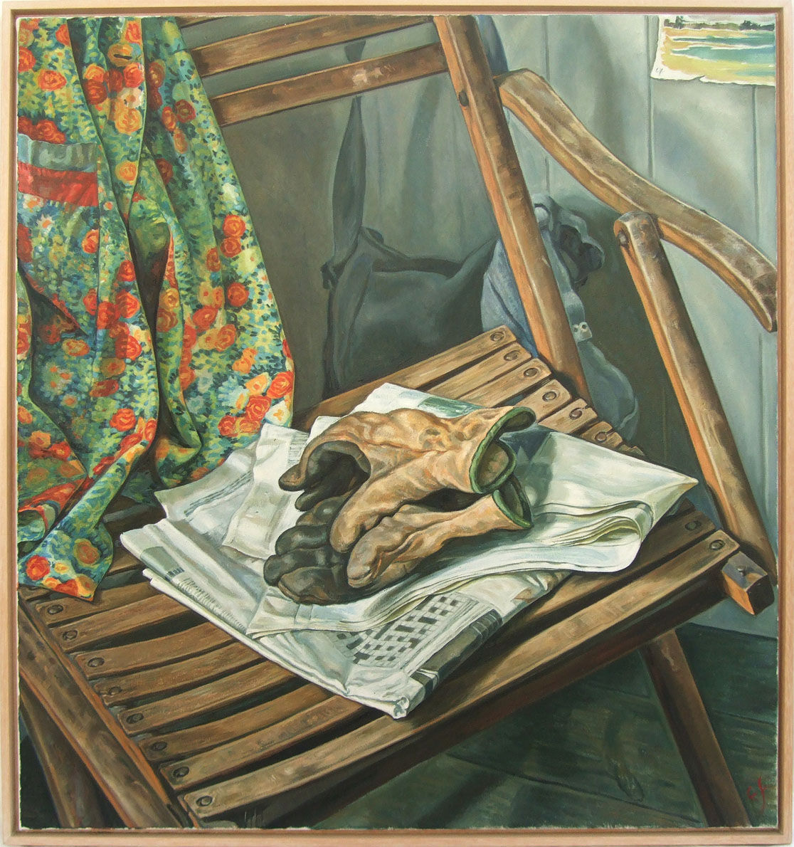 Garden gloves and newspaper on Tristram's chair
