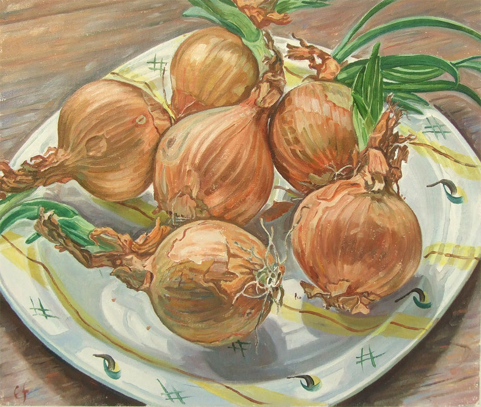 Sprouting onions on midwinter plate