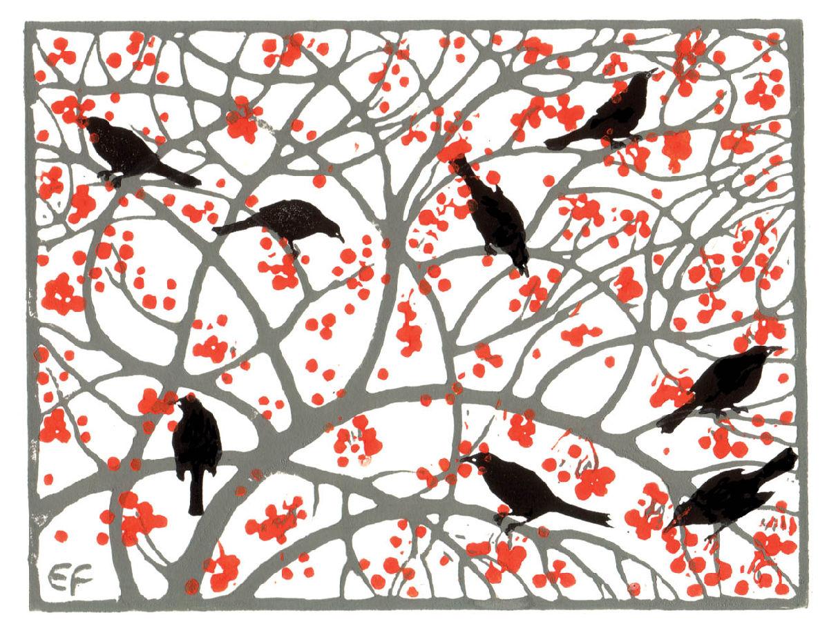 Emily Feaver Artist : Blackbirds in Crabapple Tree