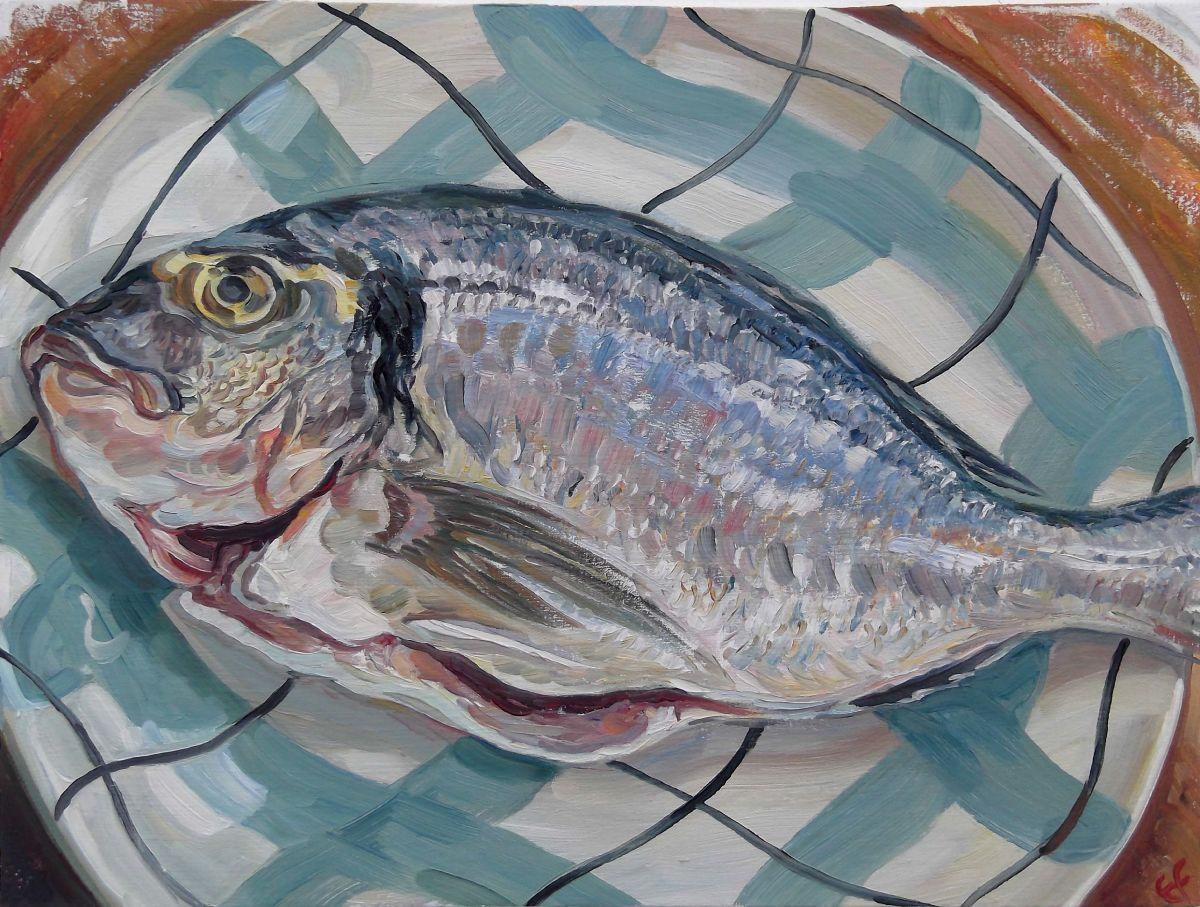 Sea Bream on tartan plate