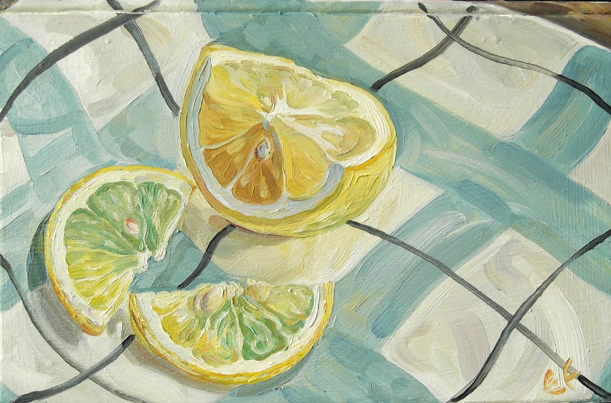Lemon slices on tartan plate