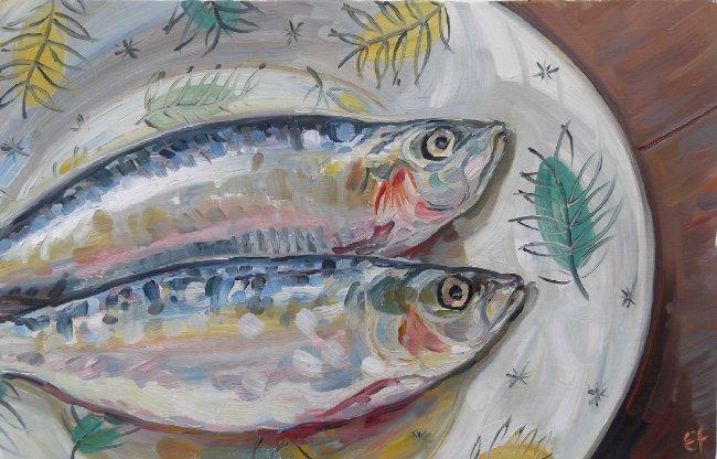 Sardines on carnival plate